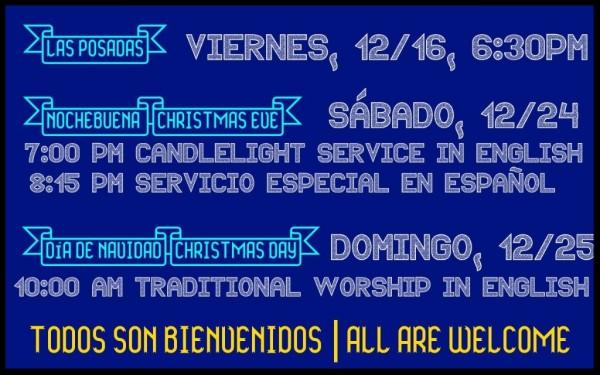 Join us for worship this Christmas! | ¡Únase a nosotros este Navidad!