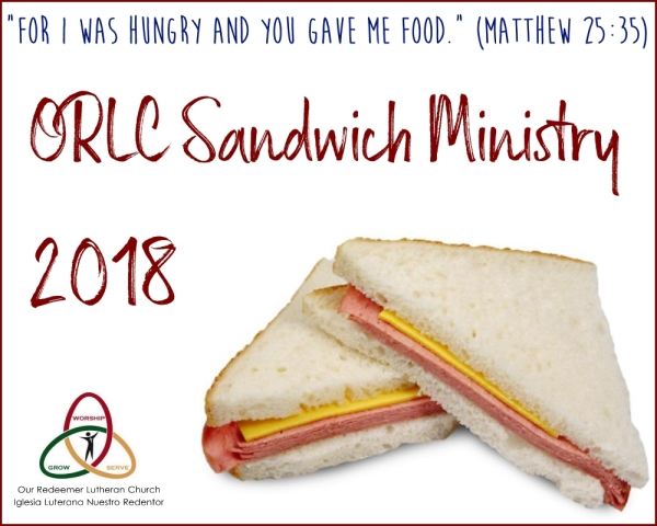 Sandwich Ministry is this Saturday at 10am.  See you there!    ¡El Ministerio de Sandwiches es sábado, 10am!
