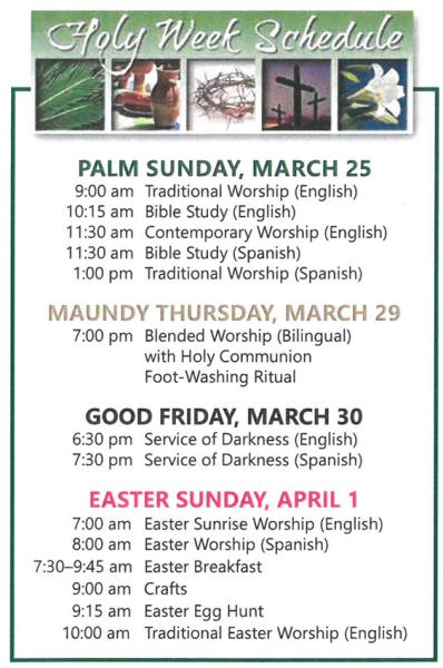 Holy Week at ORLC   Semana Santa en ORLC