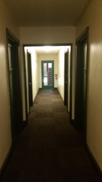 View of hallway from back of building