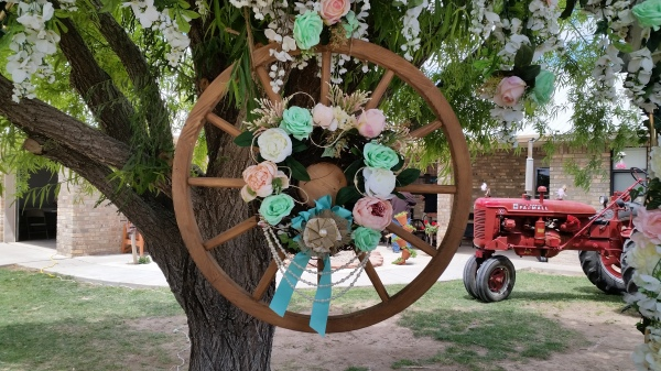 Wedding arch at a private home in Lake Arthur, New Mexico