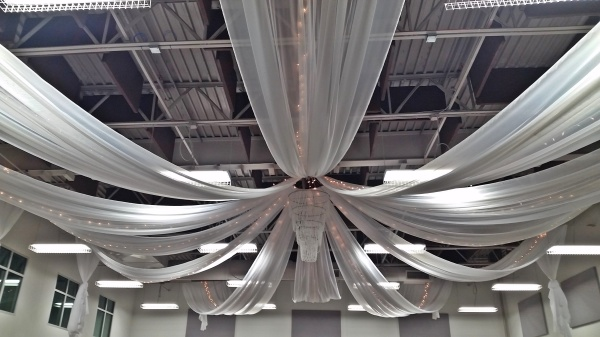 Twelve point draping with lights.