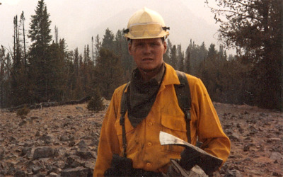 Jim St. James fighting forest fires in Yellowstone