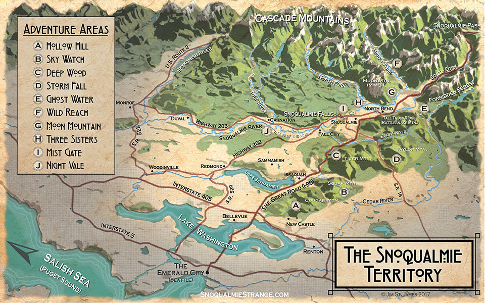Map of the Snoqualmie Territory Adventure Areas c. Jim St. James