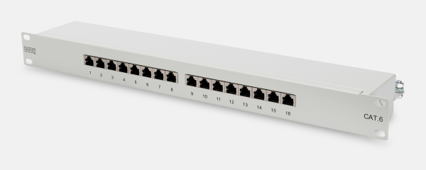 Patch Panel 16 puertos LSA - CAT 6 - 1U - Blindado - DN-91616S