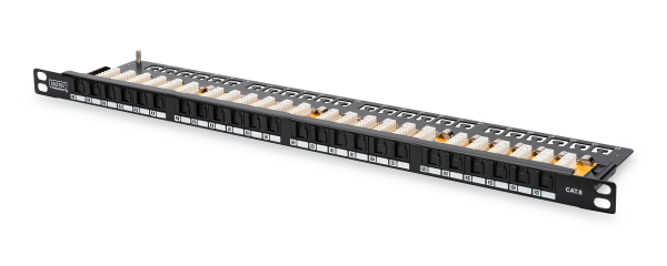 Patch Panel 24 puertos LSA - CAT 6 - 0,5U - Sin blindaje - DN-91624U-SL-SH