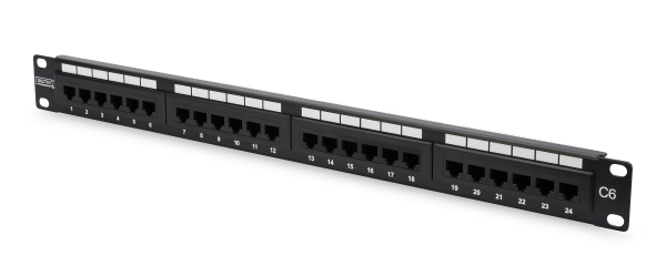 Patch Panel 24 puertos LSA - CAT 6 - 1U - Sin blindaje - DN-91624U
