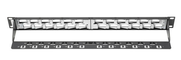 Patch Panel, blindado, 24 puertos angulados