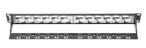 Patch Panel, blindado, 24 puertos angulados