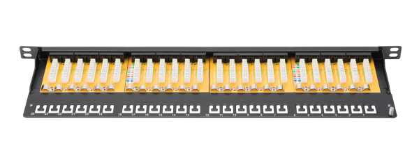 Patch Panel 24 puertos LSA - CAT 6 - 0,5U - Sin blindaje - DN-91624U-SL-SH