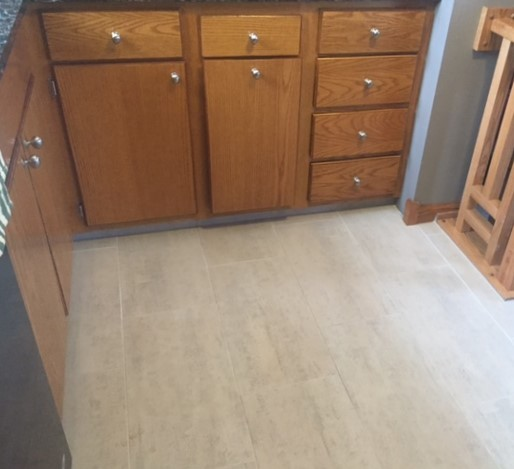 REFINISHED KITCHEN CABINETS & TILE FLOOR