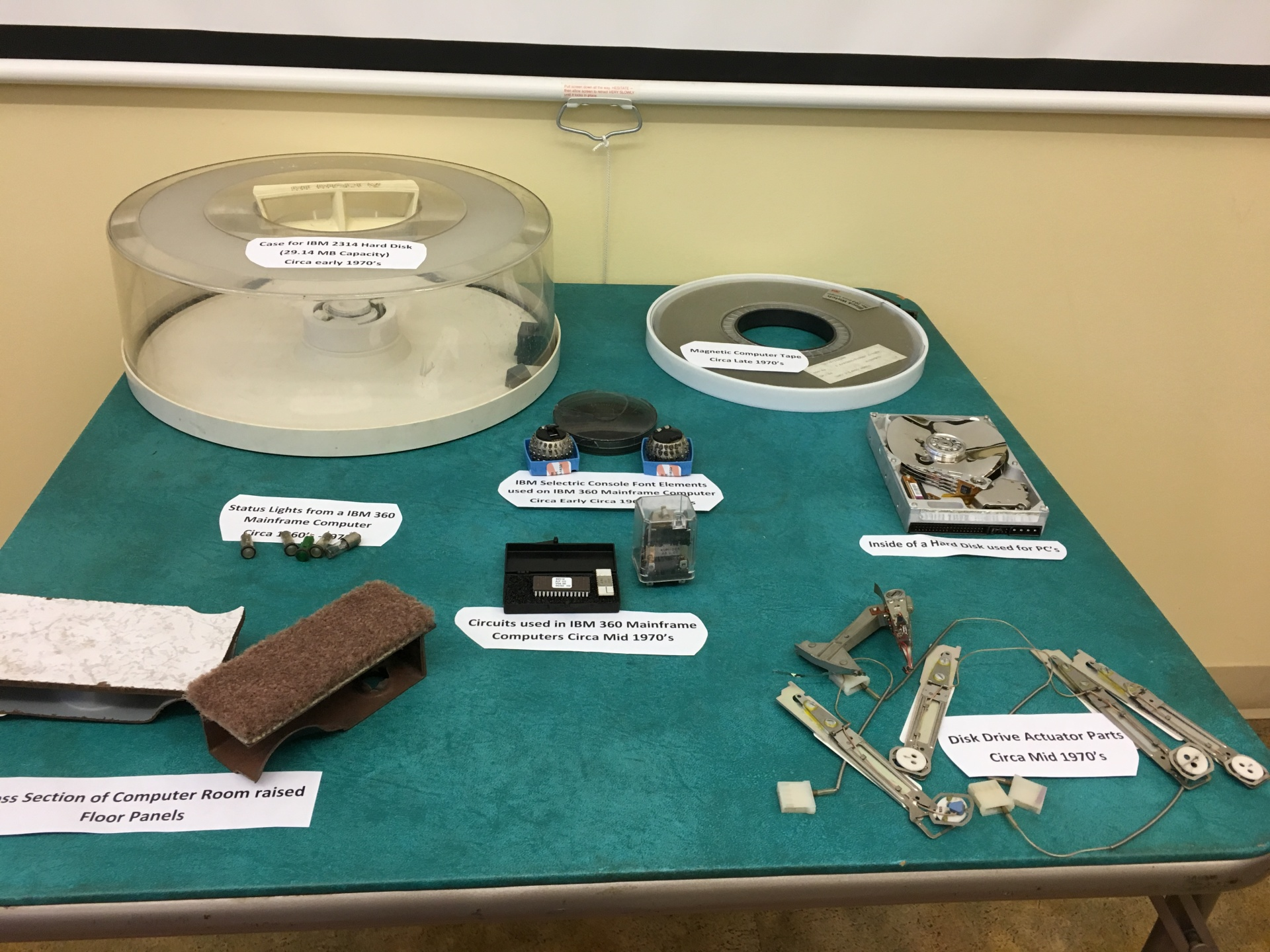 A display of some  historical Computer Parts