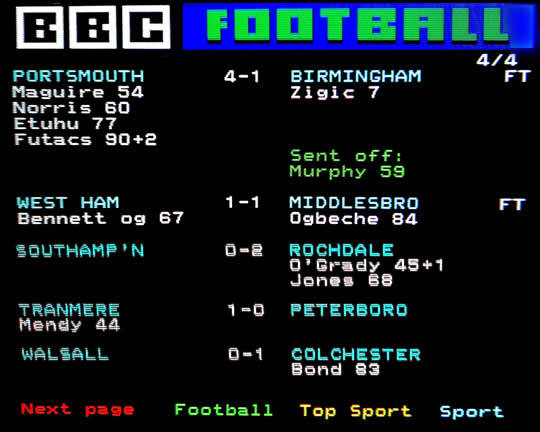 Watching the footie on Ceefax