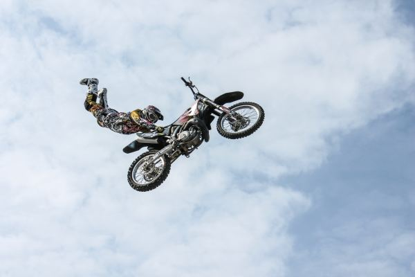 Motorcycle in mid-air