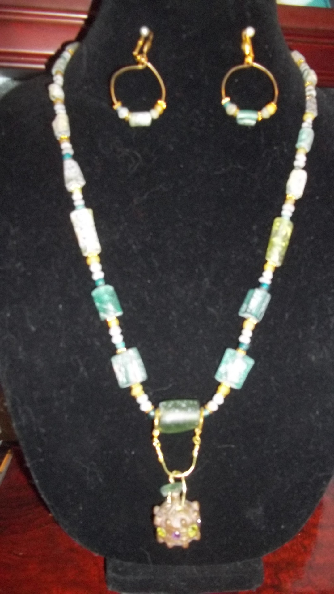 Ancient Roman Glass beads with Ancient Pendant