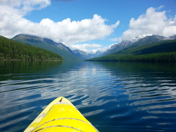 Best flat water paddle on Bowman Lake, Glacier National Park