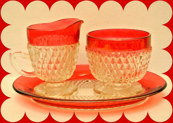 Vintage Indiana Glass Ruby Flashed Diamond Point 3 Piece Set Kings Crown Cream and Sugar on Matching Tray KitchenKitsch