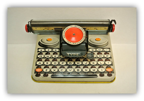 Vintage Unique Brand Dependable Toy Typewriter MCM Child's Tin Litho Toy Mid Century Collectible Decor Display Prop