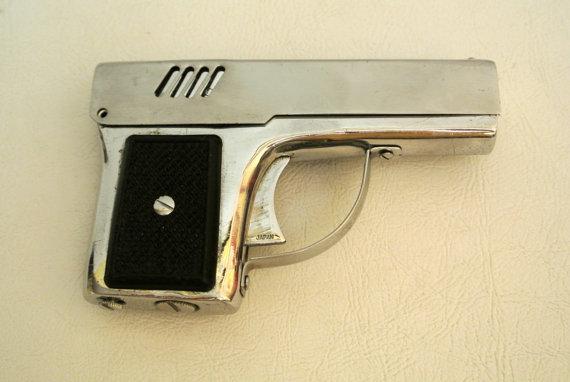 Vintage Penguin Aurora 45 Pistol Flashlight Cigarette Lighter made in Japan Collectible Gun Mancave Tobacciana MCM Madmen