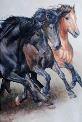 G1-038 Triade de chevaux Canadiens -Disponible/Available