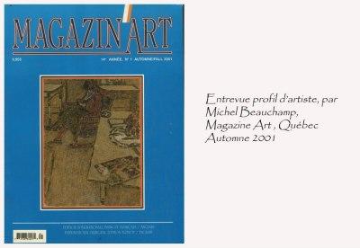 Magazin'Art, Québec, Canada. Automne 2001