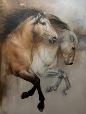 RG4-036 Entre réalité et songe voyage l'âme de nos chevaux, 48 po X 36 po