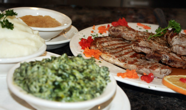 Pork Chops with Cream Spinach & Mashed Potatoes