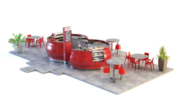 Meet and Cafe   Coffee Kiosk 3D Rendering Product