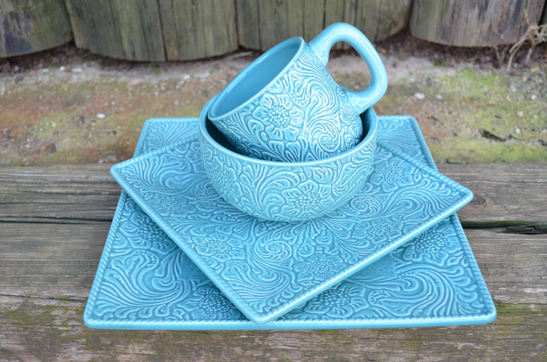 Turquoise Tooled Leather Dish Set