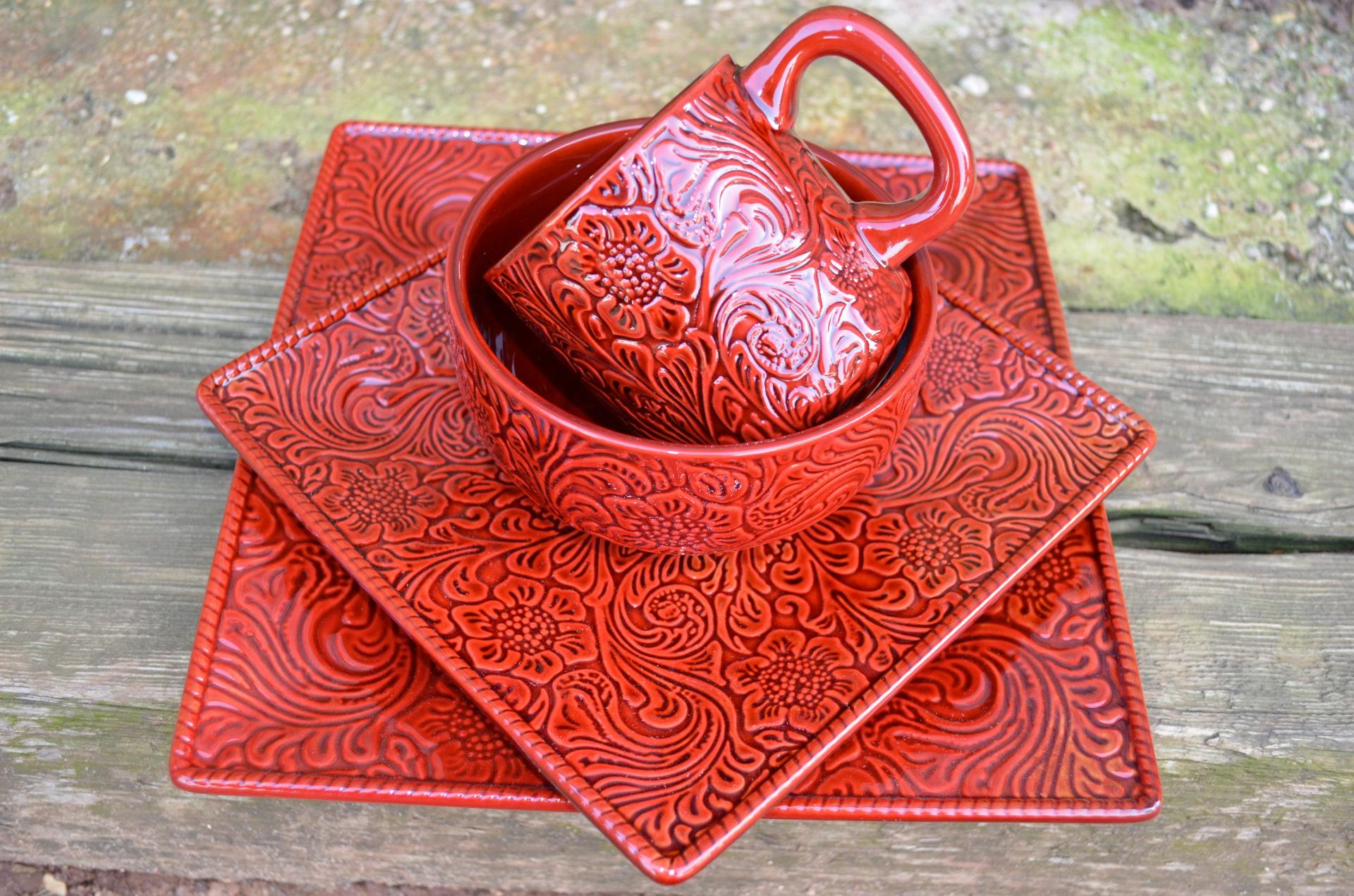 Burgundy Tooled Leather Dish Set
