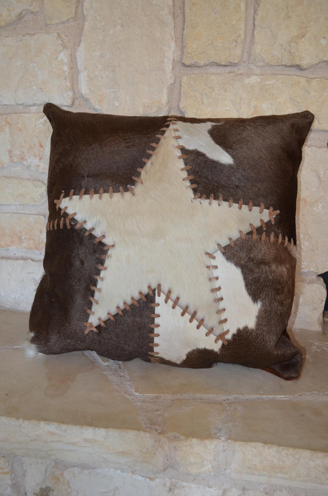 Star/Patchwork hide pillow