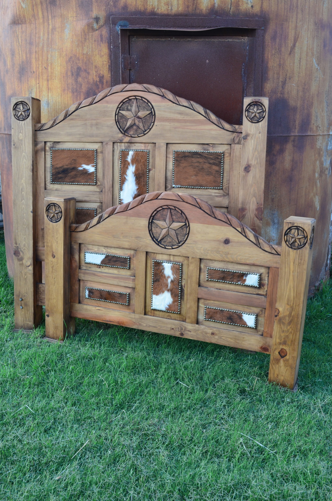 Queen Custom Cowhide Bed $1672