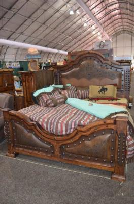 KING FINE LAQUER TOOLED LEATHER BED $3999