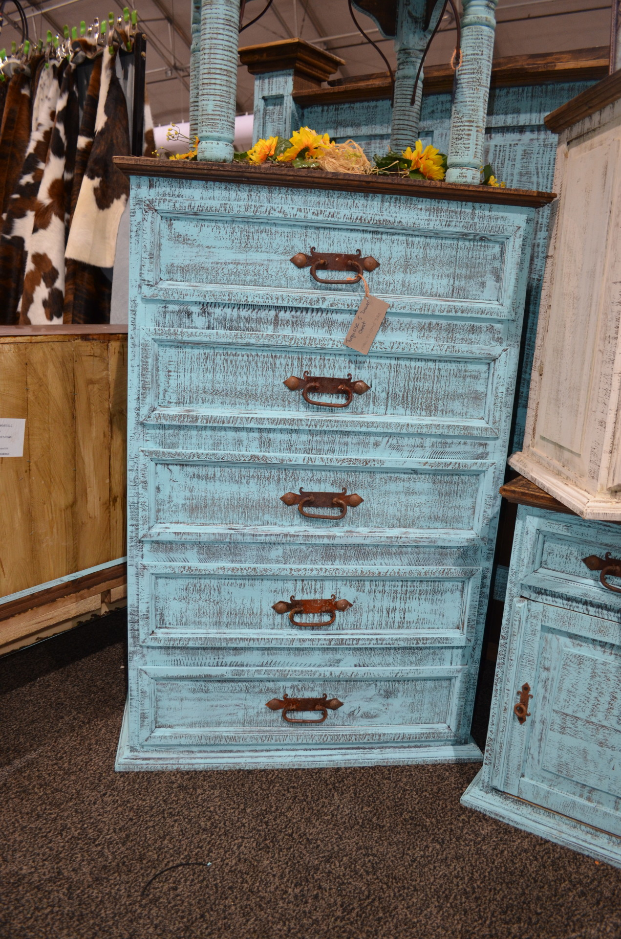 Turquoise 5 Drawer Chest $672