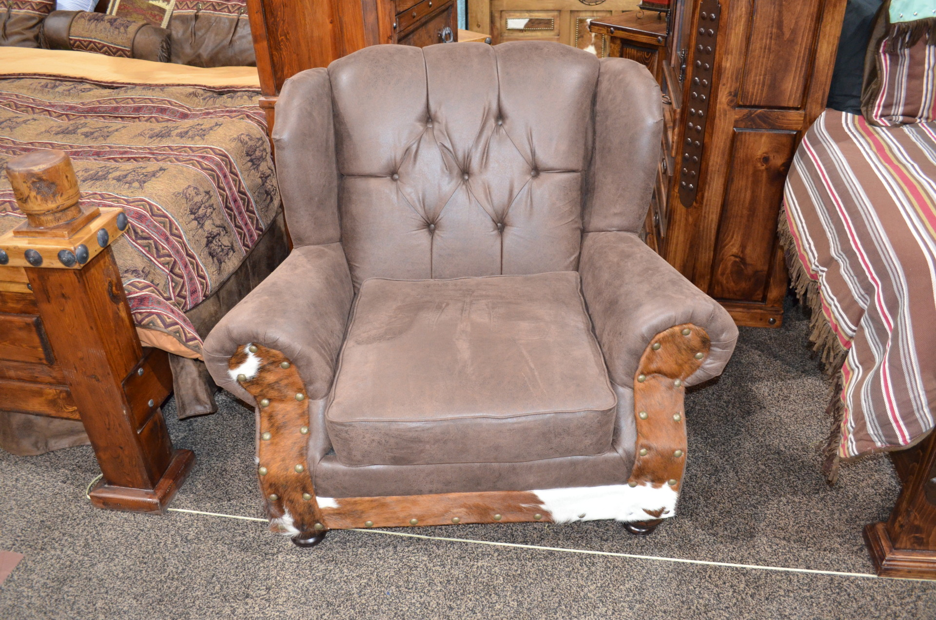 Sable Wing back Chair with Cowhide $1098