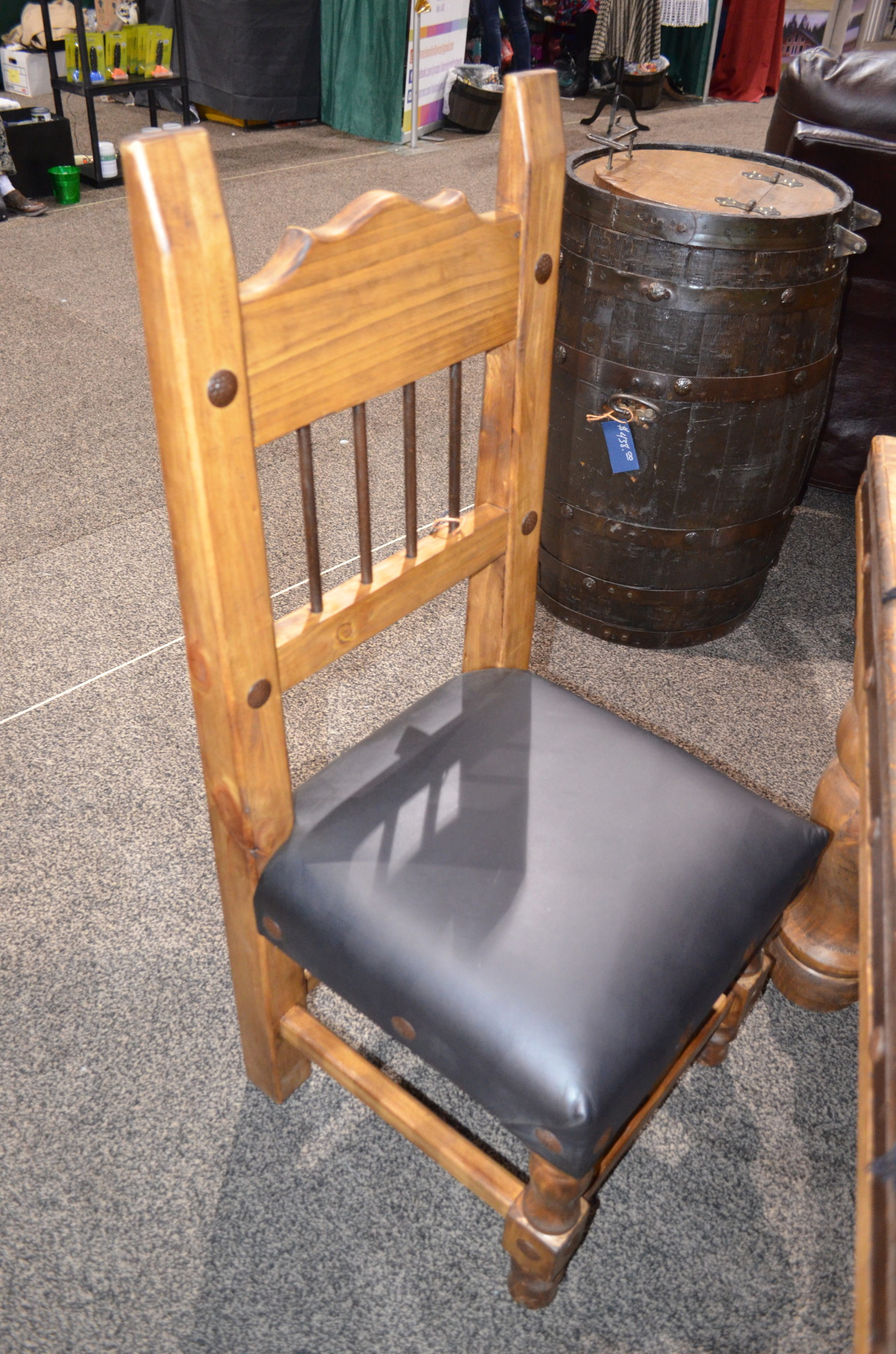 Torno Chair with Leather Seat and Iron Spindles.  $312