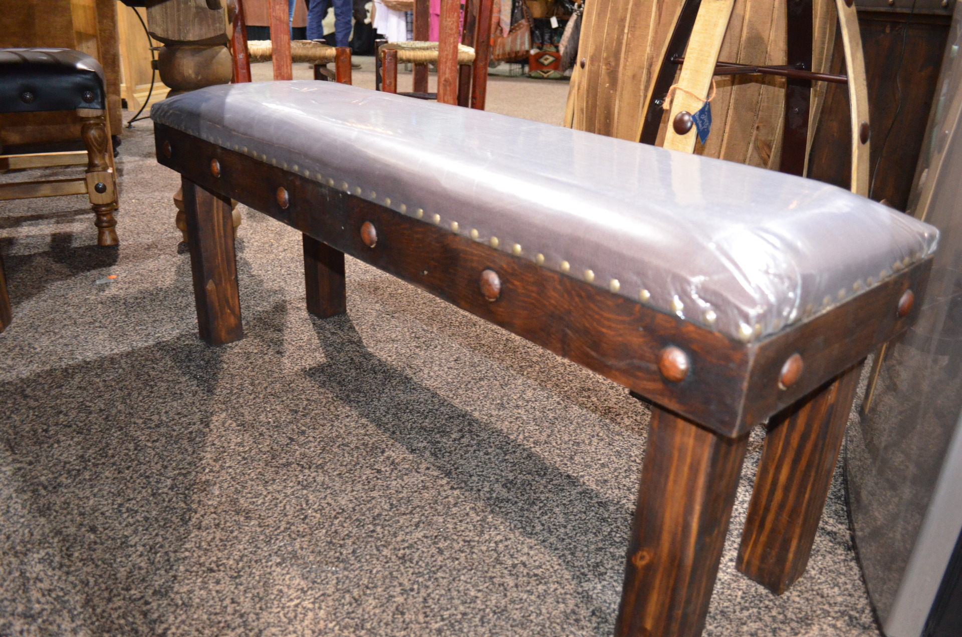 4' Laguna Bench with Leather Seat. $373