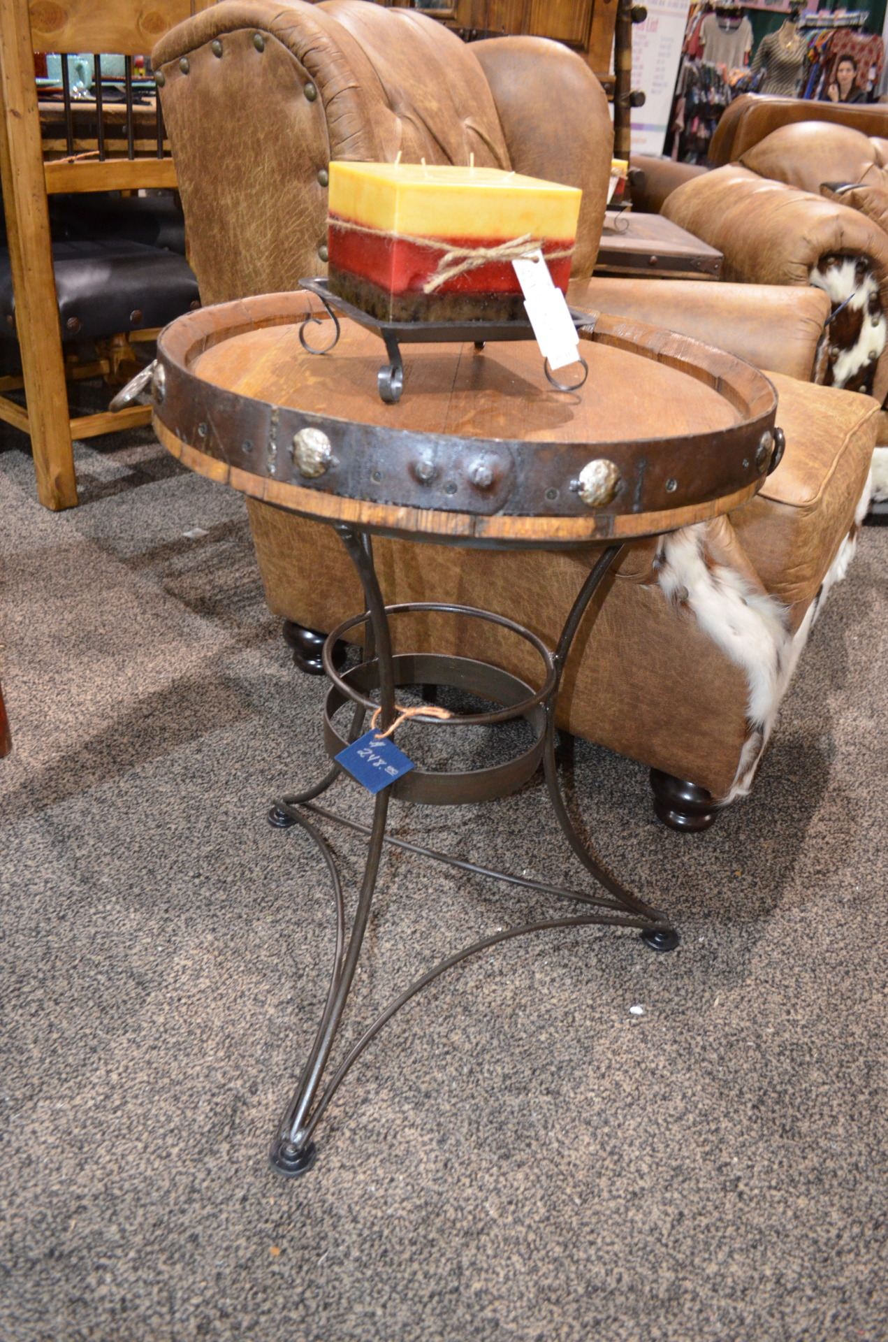 Whiskey Barrel End Table. $248