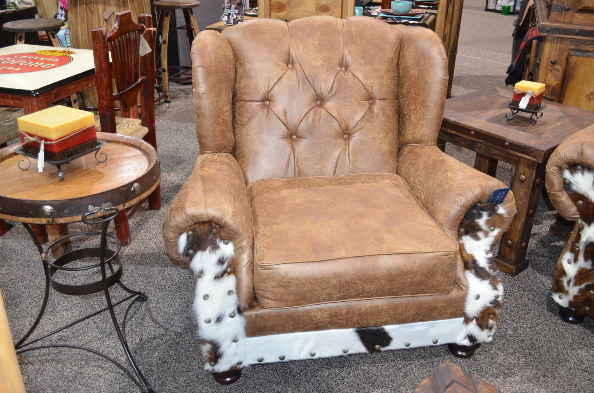 Chestnut Chair with Cowhide. $1097