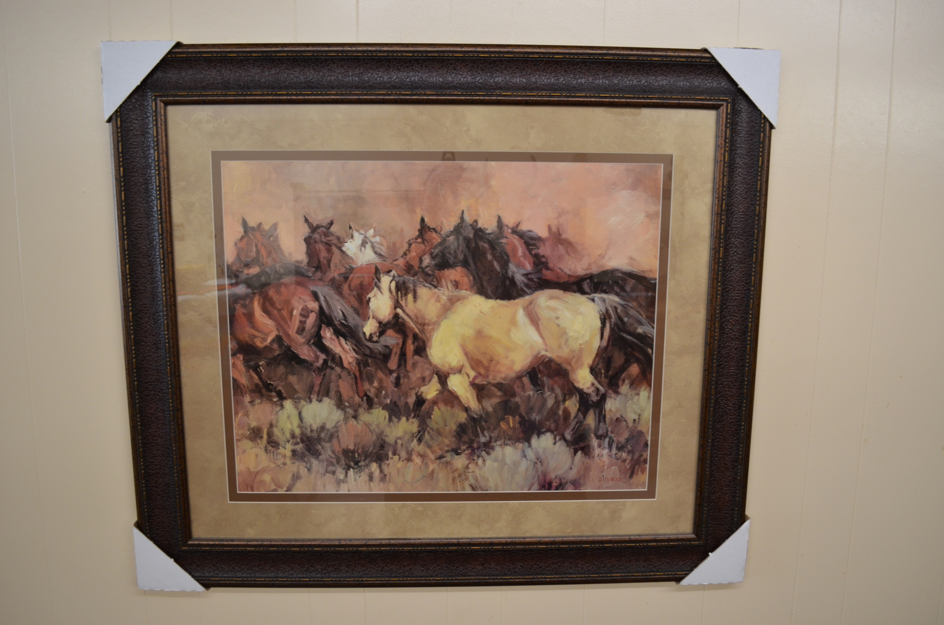 Framed Oil Painting, group of horses-$163.00