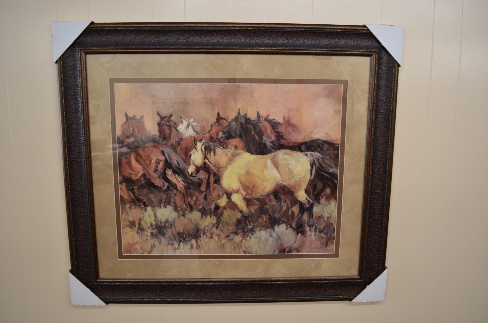 Framed Oil Painting, group of horses-$163.00