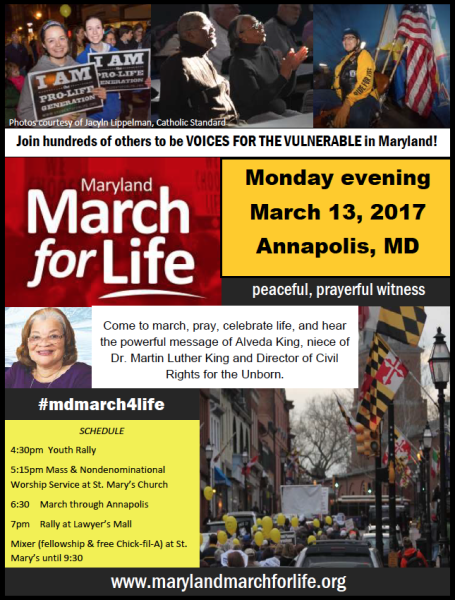 MD March for Life 2017 flyer