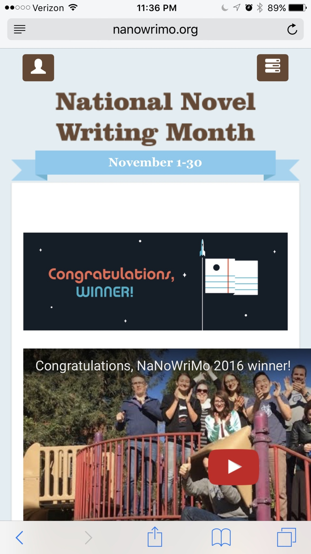 NaNoWriMo 2016 Winner Over Here!