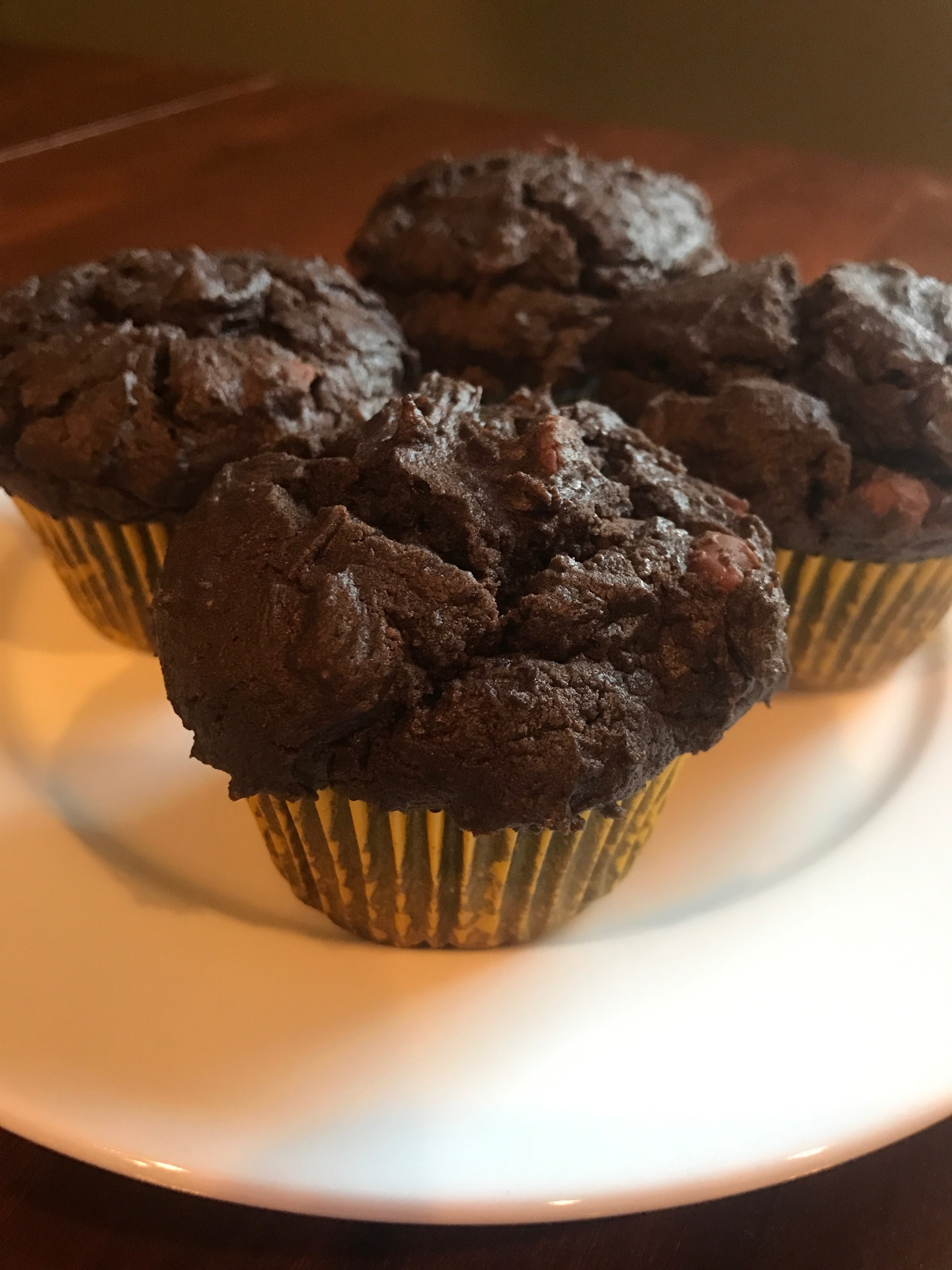 Double Chocolate Peanut Butter Muffins