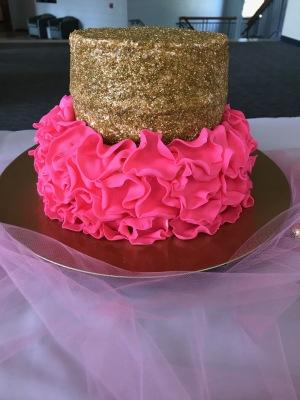 Pink & Gold Ruffly Glitter Cake