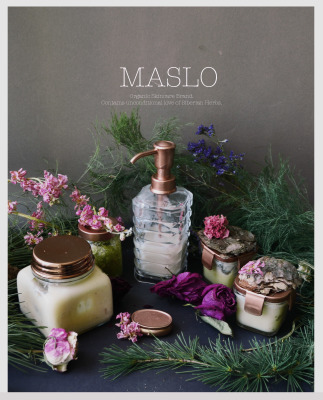 MASLO. Organic Skincare Brand.  Contains unconditional love of Siberian Herbs.