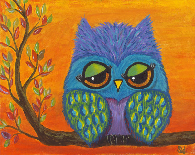 Sleepy Sunset Owl