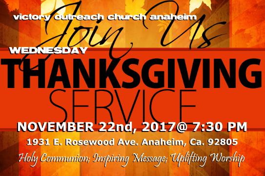 Wednesday Night Thanksgiving Service!