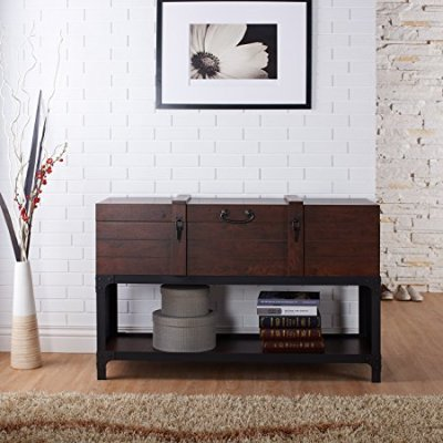 Industrial Console Table, Vintage Walnut