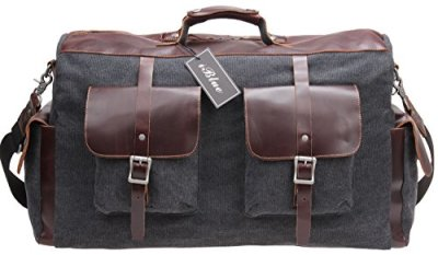 Canvas Leather Duffels Weekend Overnight Bag